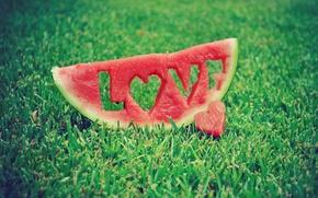 Picture grass, love, watermelon