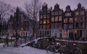 Wallpaper Amsterdam, snow, Let it snow in the Amsterdam