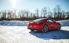 Picture winter, snow, red, coupe, Porsche, red, Porsche, rear view, Cayman S, Caiman With