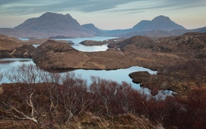 Picture mountains, hills, Scotland, lake, Highland, Wester Ross