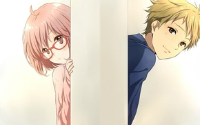 Picture girl, anime, pair, guy, beyond