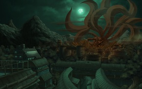Wallpaper naruto, kyuubi, mountains, art, yondaime, the demon, nine-tailed, the city, tails, the moon, night, Fox, ...