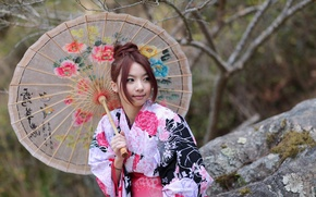 Picture girl, style, umbrella, outfit, Asian