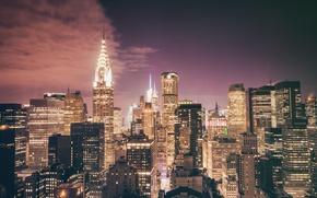 Picture USA, United States, New York, Night, Manhattan, NYC, New York City, Skyline, skyscraper, Chrysler Building, …