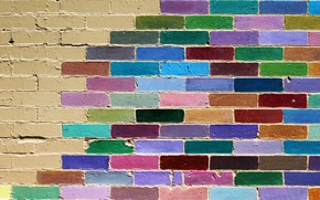 Wallpaper wall, bricks, color