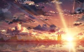 Picture the sky, water, girl, the sun, clouds, sunset, reflection, anime, art, guy, yuuki tatsuya, sword …