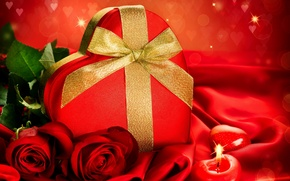 Picture flowers, box, gift, heart, candy, roses, candle, Valentine's Day