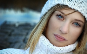Picture Girl, hat, blue eyes, photos, lips, face, blond, portrait, mouth