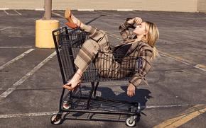 Picture asphalt, the sun, pose, blonde, costume, shoes, truck, jacket, photoshoot, pants, Chloe Grace Moretz, InStyle, ...