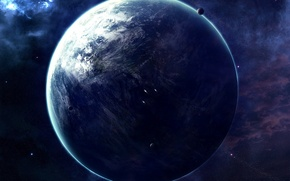 Picture stars, planet, ships