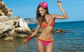 Picture sea, flower, swimsuit, body, the beauty, Camilla Morais