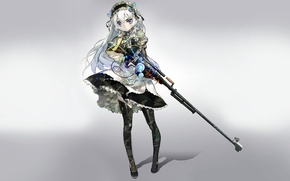 Picture girl, weapons, background, sniper rifle, clips, Chaika the coffin, Hitsugi no Chaika, Chaika Trabant