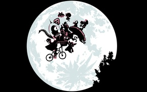 Picture bike, the moon, monsters, parody