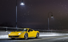 Picture Ferrari, 458, Front, Snow, Yellow, Italia, Road, Supercar, Ligth, Nigth
