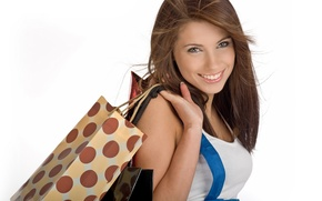 Picture girl, joy, happiness, smile, mood, laughter, good mood, purchase, fun, packages, shopping, new clothes