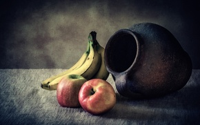 Picture apples, bananas, pitcher, still life