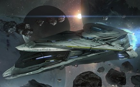 Picture space, fiction, ship, planet, asteroids, game wallpapers, Star Citizen