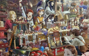 Picture girl, anime, art, shopping, market