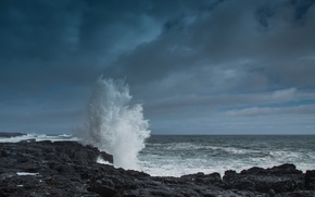 Picture sea, wave, the sky, shore, Iceland