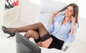 Picture girl, face, smile, hair, skirt, stockings, legs, the conversation, Secretary