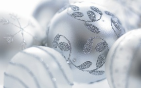 Picture Xmas, holiday, decorations, snowflake, twigs, Happy New Year, New Year, frost, toys, white balls, holiday, …