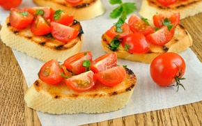 Picture bread, sandwich, tomatoes, baguette, tomatoes, napkin, cherry