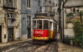 Picture building, tram, track, Portugal, Coca-Cola, Lisbon, city