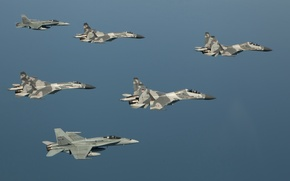 Picture The sky, Flight, sky, Fighters, Su-27, F-18, Su-27, The Indonesian air force, F-18, Indonesian Air ...