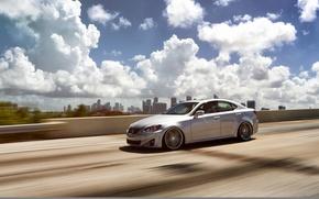 Picture road, speed, Lexus, wheels, black, metallic, Lexus, vossen, IS250