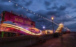 Picture light, night, lights, coast, slides, fair