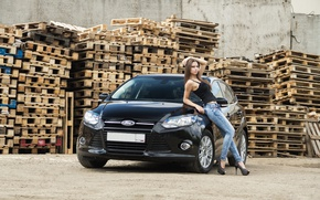 Picture look, girl, Ford, Girls, black car
