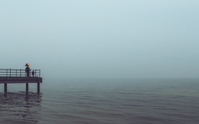 Picture sea, the storm, woman, child, horizon, pierce, male, gray clouds, rainy