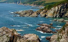 Wallpaper sea, Devon, rocks, England, Mothecombe, coast, stones