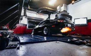 Picture machine, auto, fire, garage, Toyota, auto, Supra, exhaust, Charles Siritho