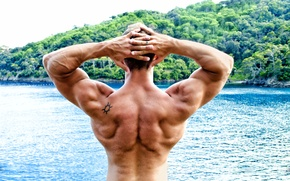 Picture men, pose, back, bodybuilder