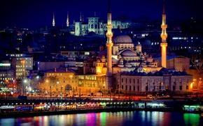Picture night, excerpt, Istanbul, Turkey, night, Istanbul, Mosque, exposure, new mosque, New Mosque