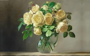Picture water, flowers, bouquet, picture, art, pitcher, Pieter Wagemans