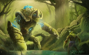 Picture forest, water, art, Dota 2, creep, Tiny, Stone Giant, kunimator
