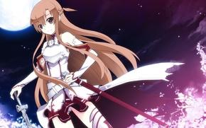 Wallpaper girl, night, weapons, the moon, sword, fantasy, art, sword art online, yuuki asuna, uiu