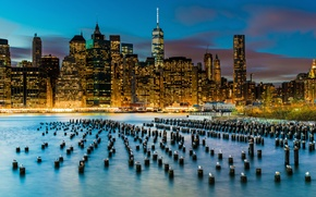 Picture birds, the city, lights, river, building, seagulls, New York, skyscrapers, support, USA, Lower Manhattan, East …
