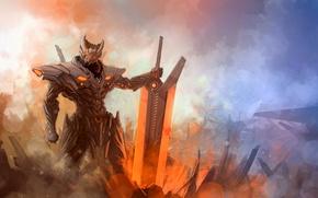 Picture energy, fog, sword, Warrior, armor, hi-tech, League of Legends, Jarvan IV