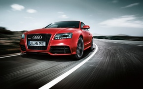 Wallpaper road, red, Audi, speed, RS5