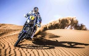 Picture Motorcycle, Racer, Sand, Dune, Speed, Day, Rally, Sport, Dakar, Moto