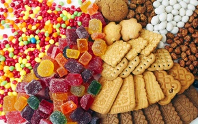 Picture color, cookies, candy, sweets, colorful, marmalade