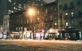 Picture USA, storm, night, New York, Manhattan, NYC, Snow, New York City, winter, America, United States ...