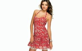 Picture model, dress, white background, bracelet, brown hair, miranda kerr, Victoria's Secret Angels, Miranda Kerr, summer