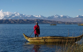 Picture mountains, lake, boat, Bolivia, Titicaca, the Bolivian, 's a serape