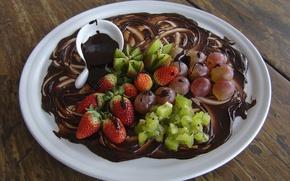 Picture food, chocolate, kiwi, strawberry, grapes, dessert