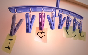 Picture love, paper, heart, sheets, I love you, i love you, clip, hanger