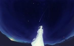 Picture the sky, girl, stars, night, lighthouse, anime, art, akio-tank
